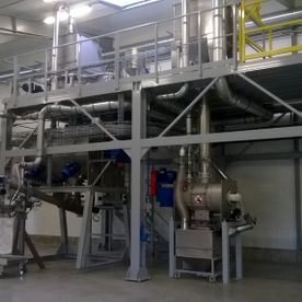 Assembly of bulk mixture production line